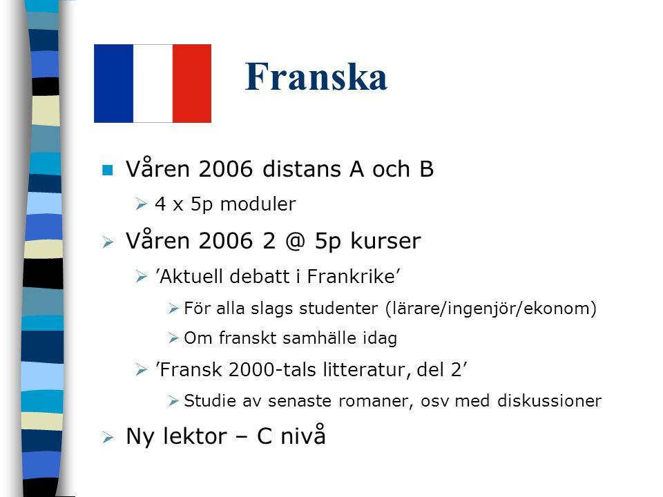 Franska Våren 2006 distans A och B Våren 2006 2 @ 5p kurser