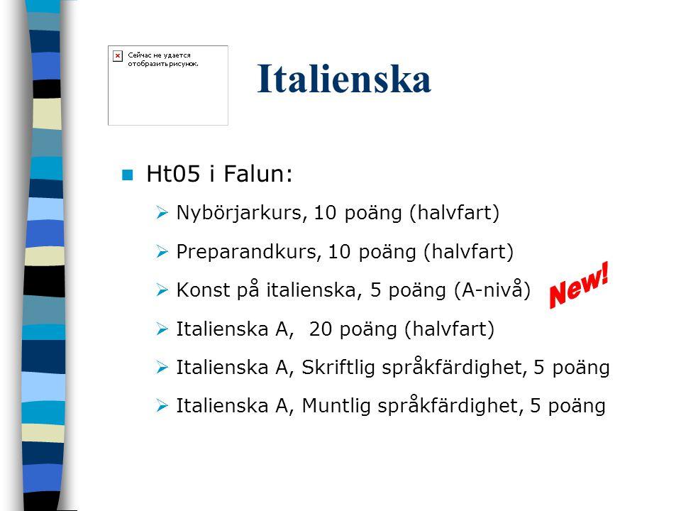Italienska Ht05 i Falun: Nybörjarkurs, 10 poäng (halvfart)