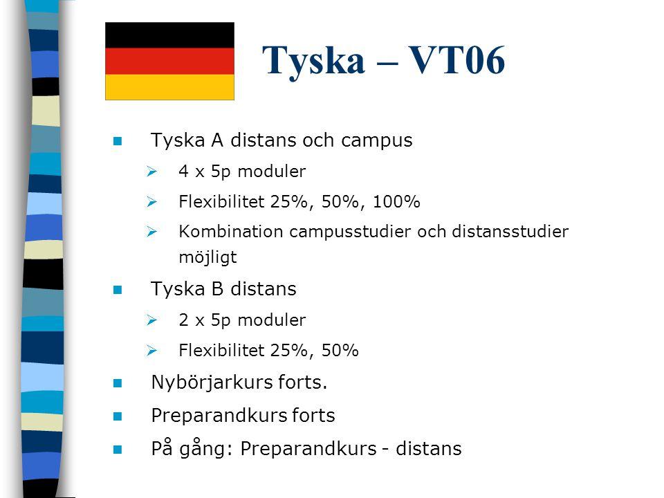 Tyska – VT06 Tyska A distans och campus Tyska B distans