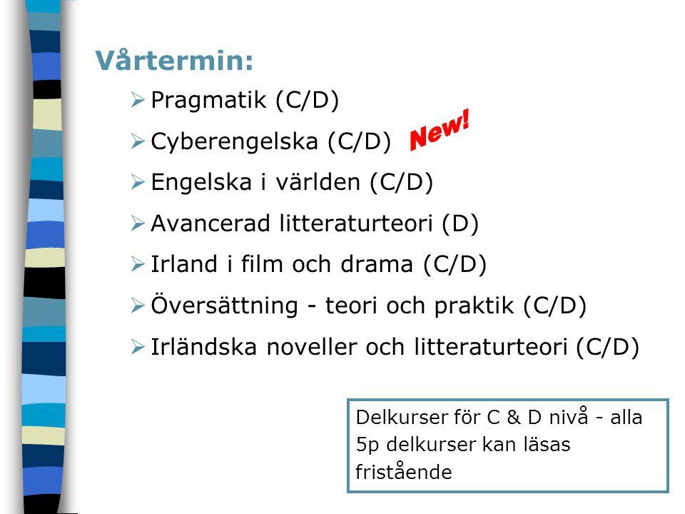 Vårtermin: Pragmatik (C/D) Cyberengelska (C/D)
