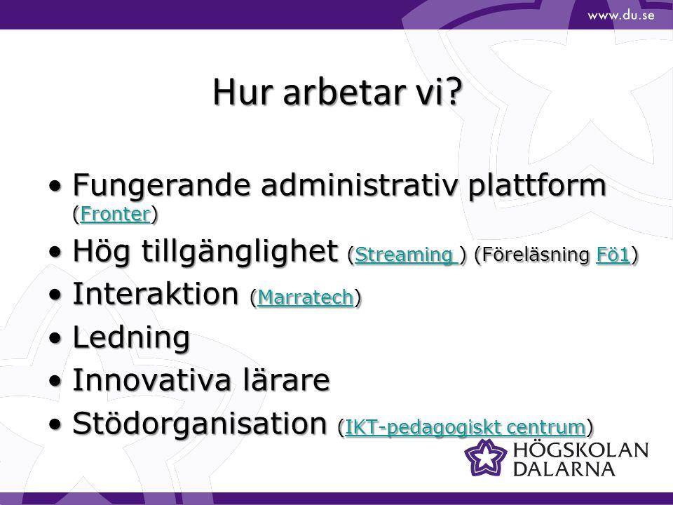 Hur arbetar vi Fungerande administrativ plattform (Fronter)