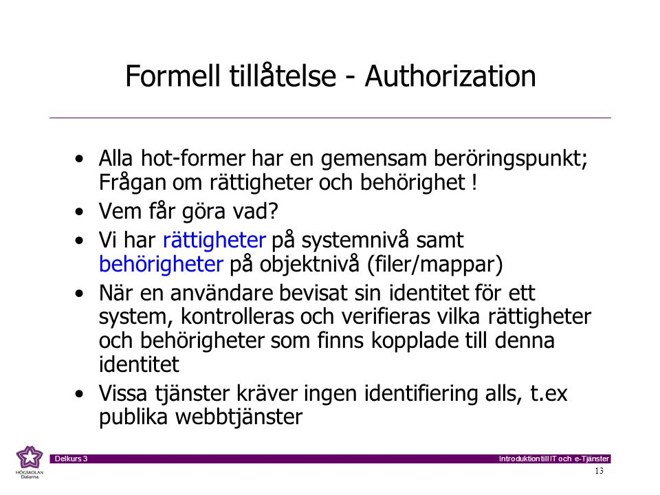 Formell tillåtelse - Authorization