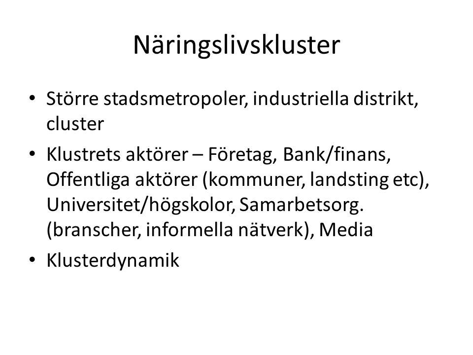Näringslivskluster Större stadsmetropoler, industriella distrikt, cluster.