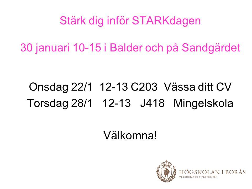 Stärk dig inför STARKdagen 30 januari 10-15 i Balder och på Sandgärdet