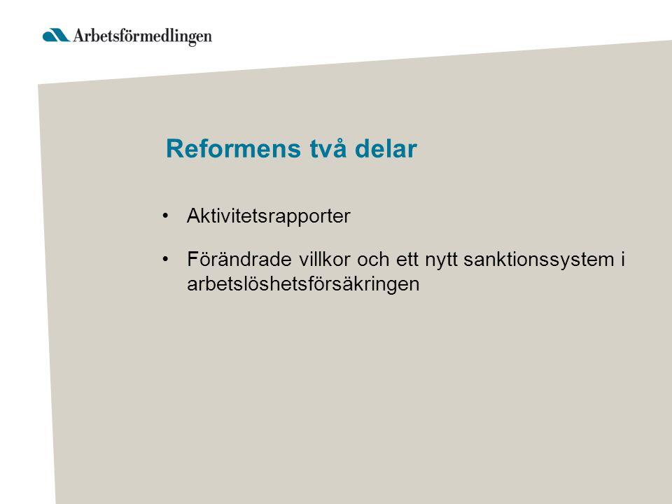 Reformens två delar Aktivitetsrapporter