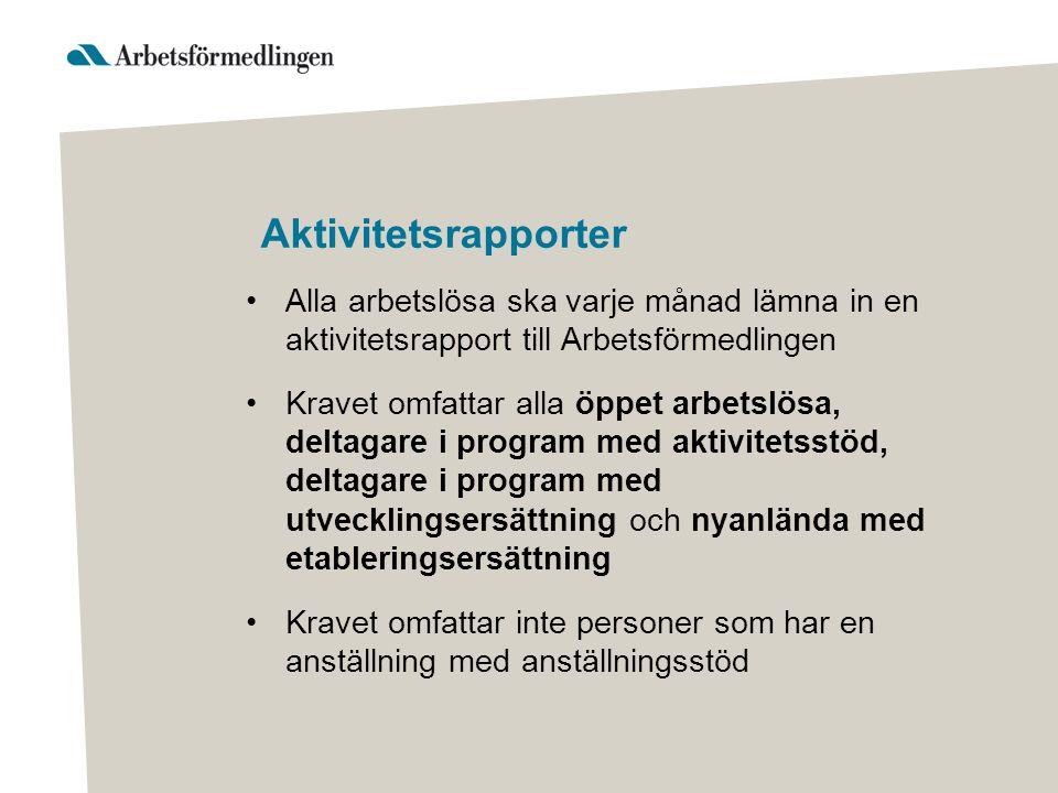 Aktivitetsrapporter Alla arbetslösa ska varje månad lämna in en aktivitetsrapport till Arbetsförmedlingen.
