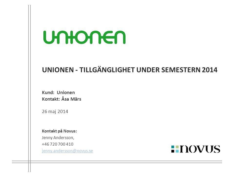 UNIONEN - tillgänglighet under semestern 2014