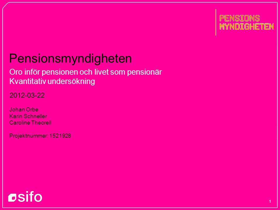 Oro inför pensionen och livet som pensionär Kvantitativ undersökning