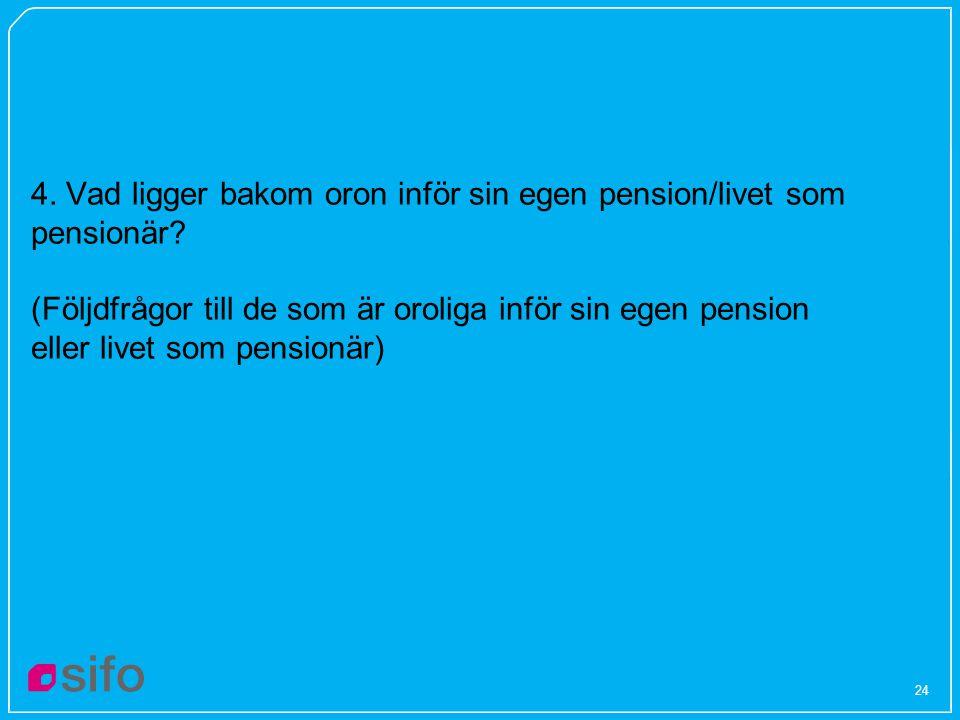 4. Vad ligger bakom oron inför sin egen pension/livet som pensionär