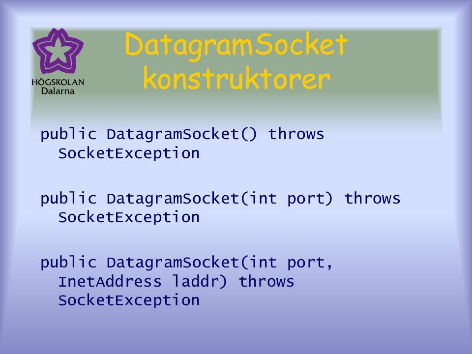 DatagramSocket konstruktorer