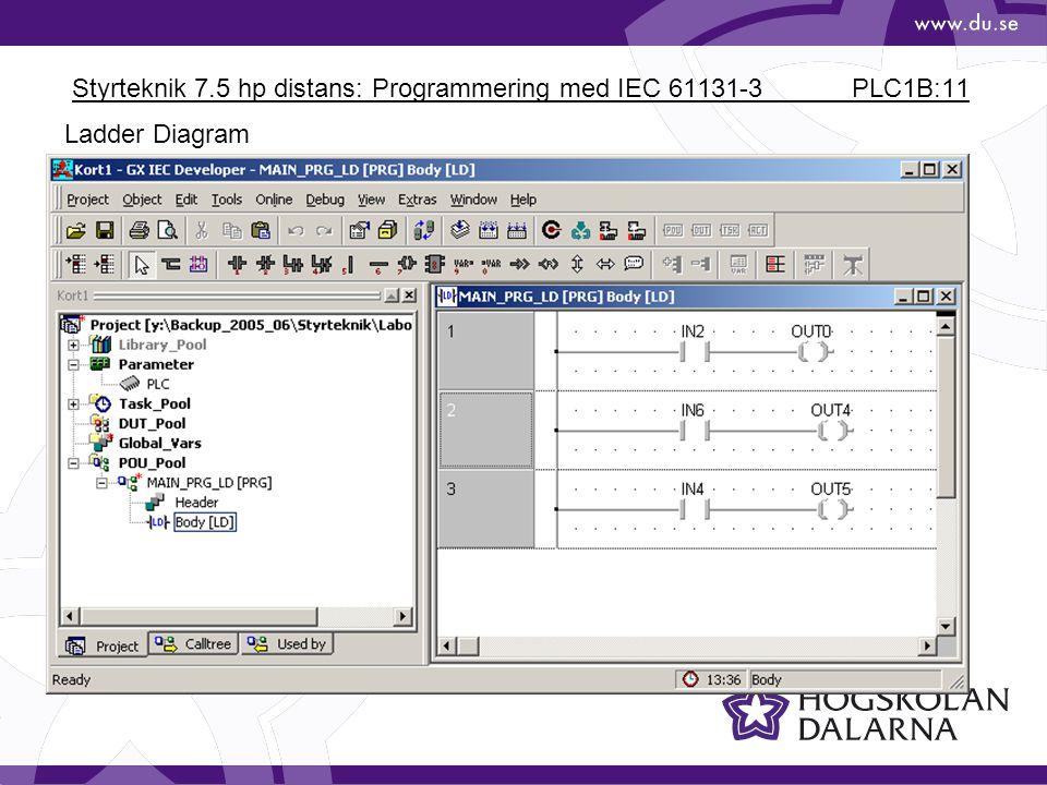 Styrteknik 7.5 hp distans: Programmering med IEC 61131-3 PLC1B:11