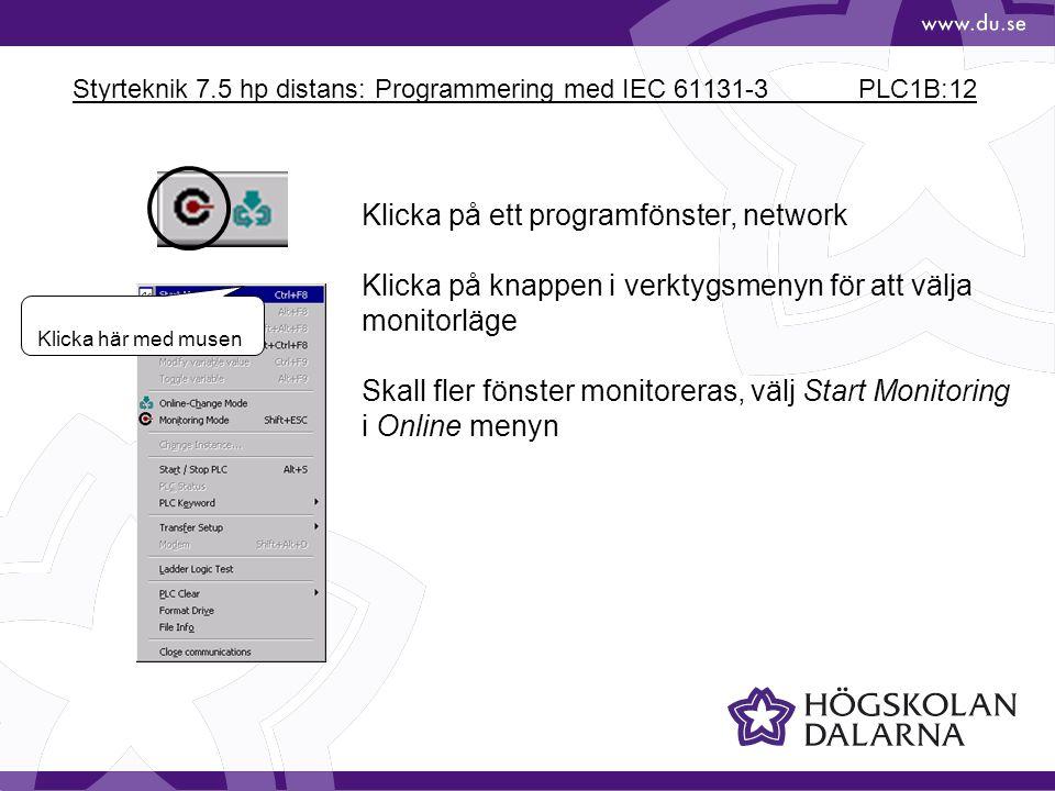 Styrteknik 7.5 hp distans: Programmering med IEC 61131-3 PLC1B:12