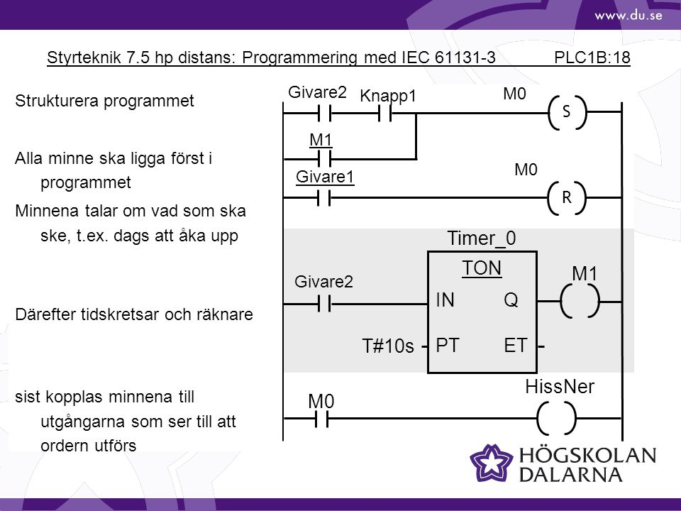 Styrteknik 7.5 hp distans: Programmering med IEC 61131-3 PLC1B:18
