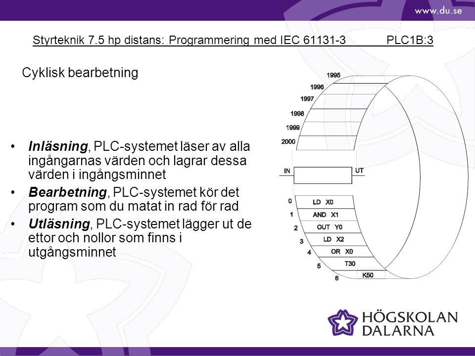 Styrteknik 7.5 hp distans: Programmering med IEC 61131-3 PLC1B:3
