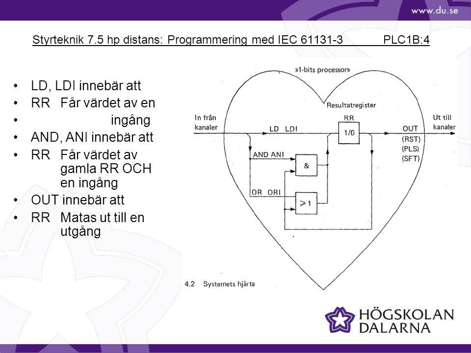 Styrteknik 7.5 hp distans: Programmering med IEC 61131-3 PLC1B:4