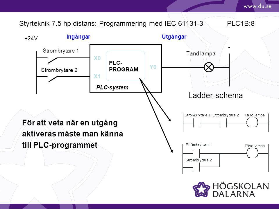 Styrteknik 7.5 hp distans: Programmering med IEC 61131-3 PLC1B:8