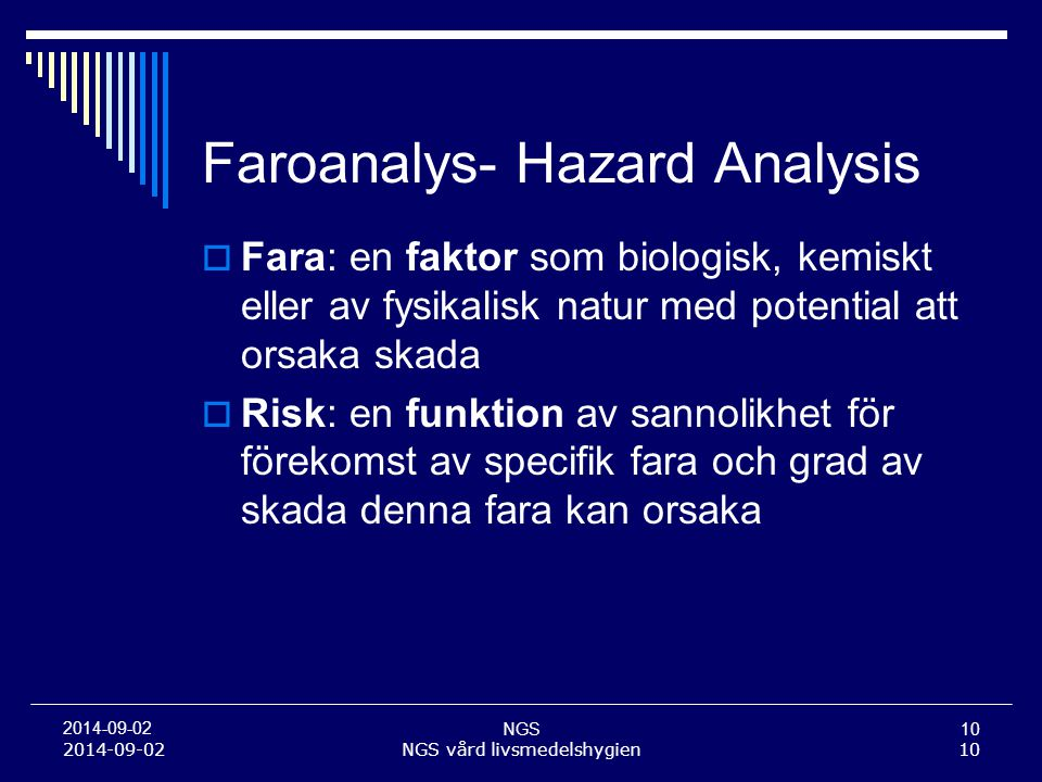 Faroanalys- Hazard Analysis