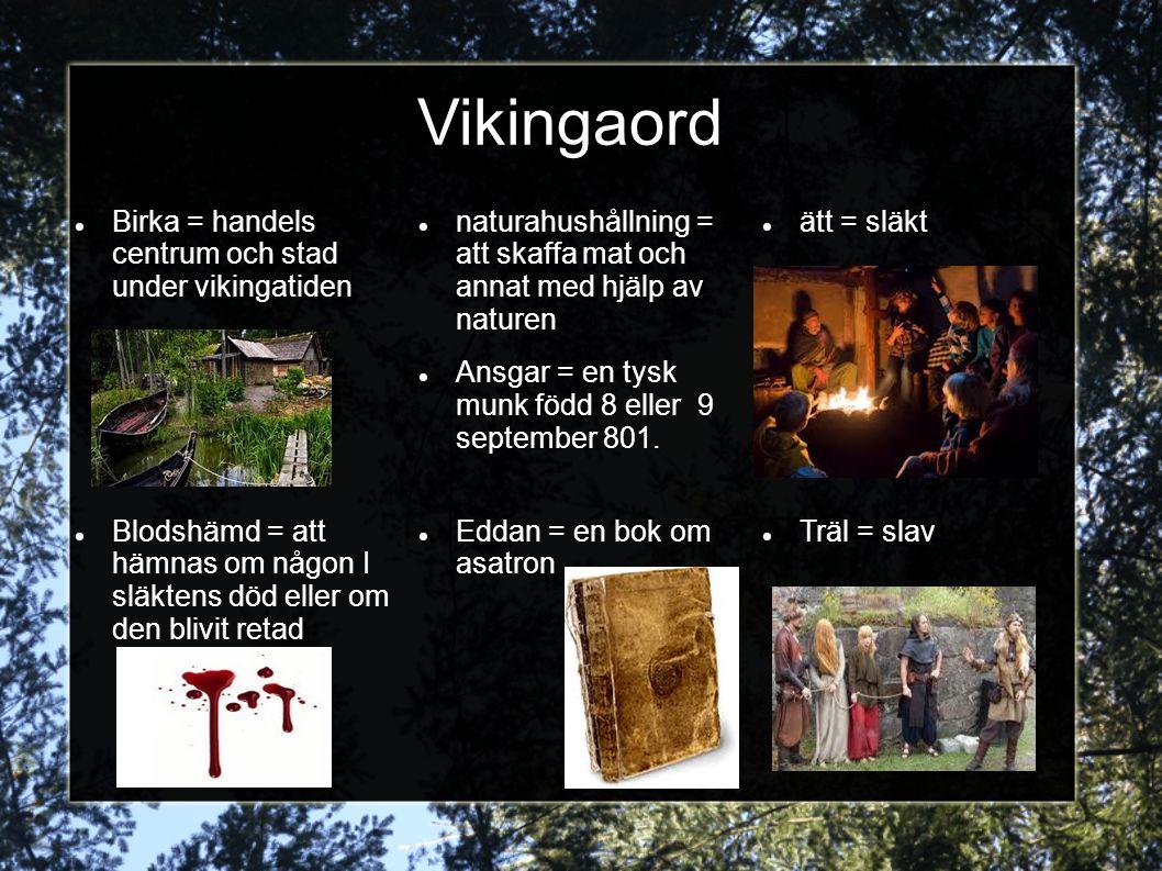 Vikingaord Birka = handels centrum och stad under vikingatiden