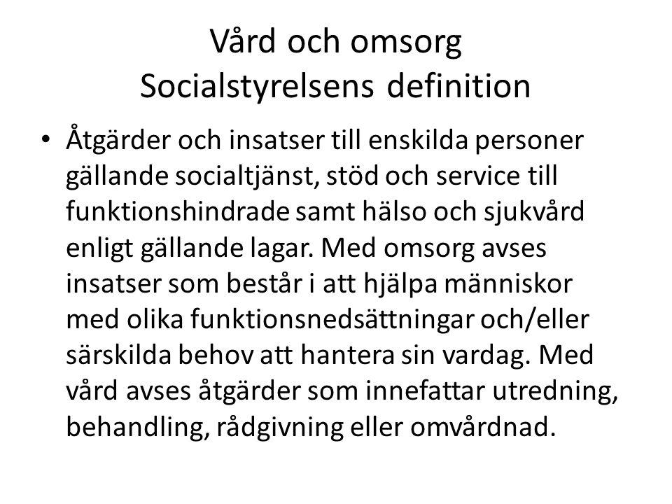 Vård och omsorg Socialstyrelsens definition