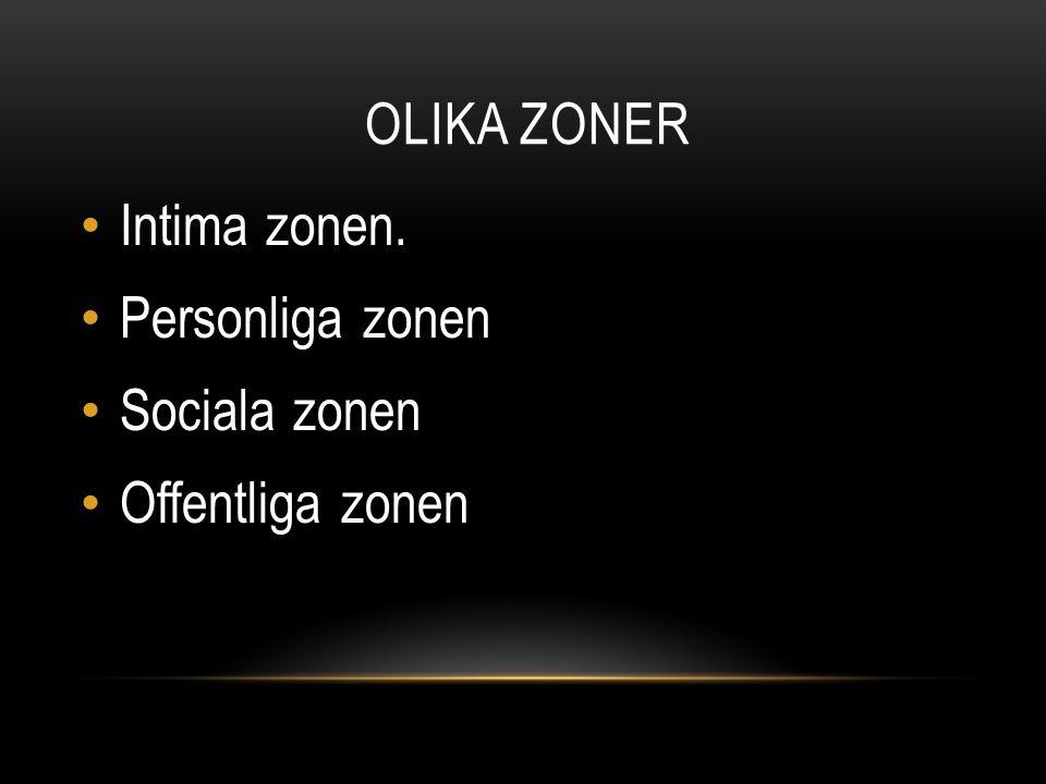Intima zonen. Personliga zonen Sociala zonen Offentliga zonen