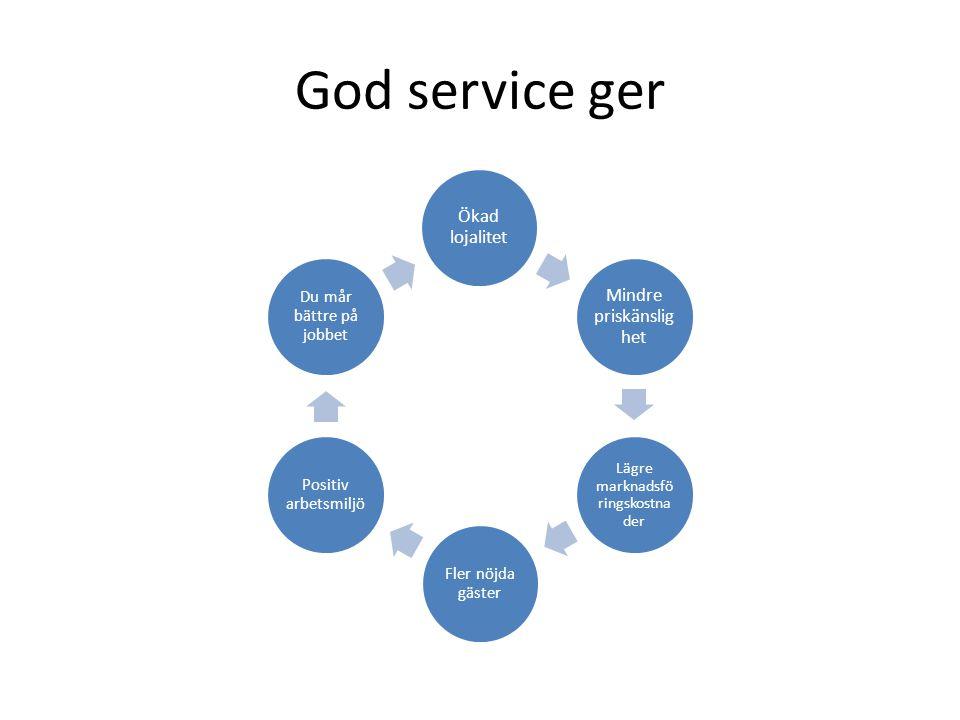 God service ger Mindre priskänslighet Ökad lojalitet