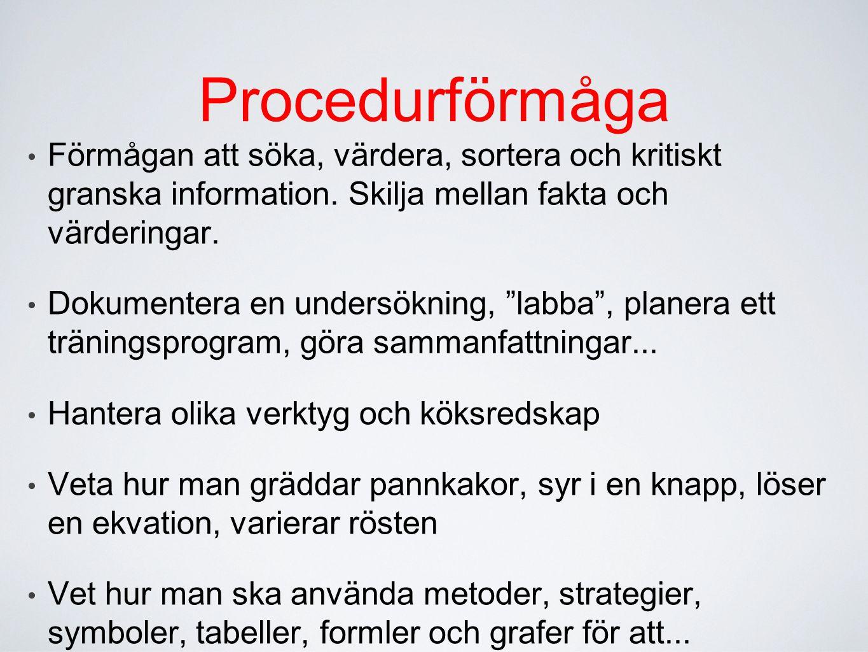 Procedurförmåga Förmågan att söka, värdera, sortera och kritiskt granska information. Skilja mellan fakta och värderingar.