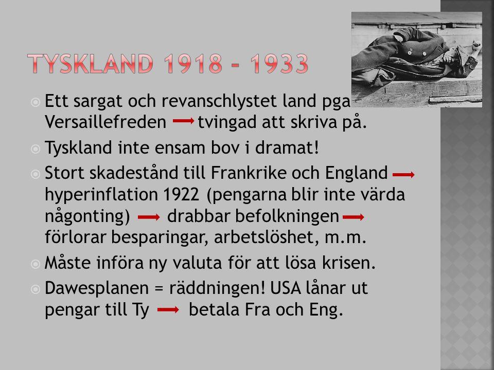 Tyskland 1918 - 1933 Ett sargat och revanschlystet land pga. Versaillefreden tvingad att skriva på.