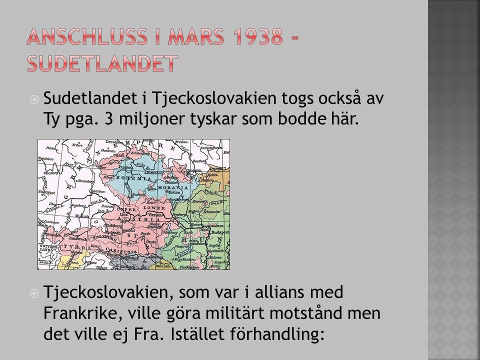 Anschluss i mars 1938 - sudetlandet