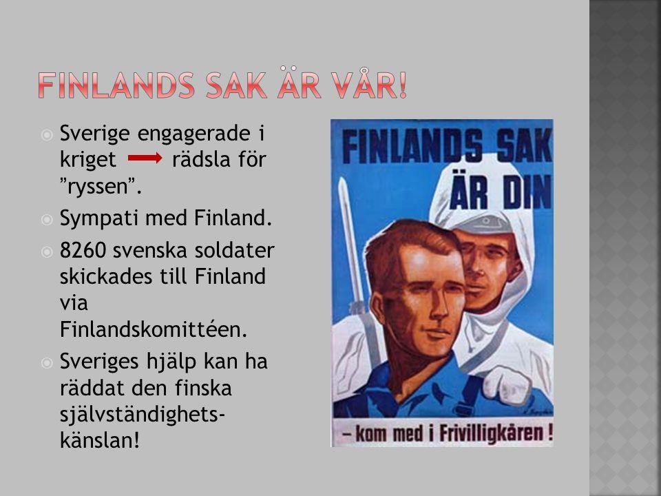 Finlands sak är vår! Sverige engagerade i kriget rädsla för ryssen .