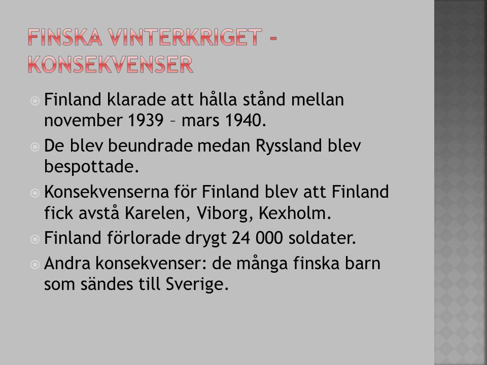Finska vinterkriget - konsekvenser