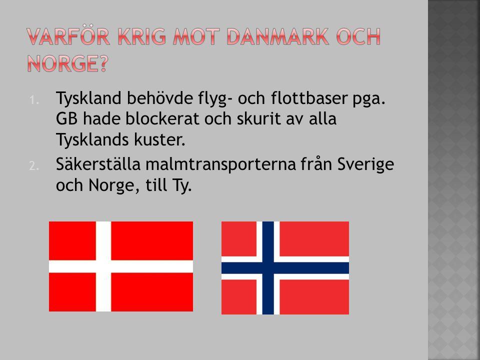 Varför krig mot danmark och norge
