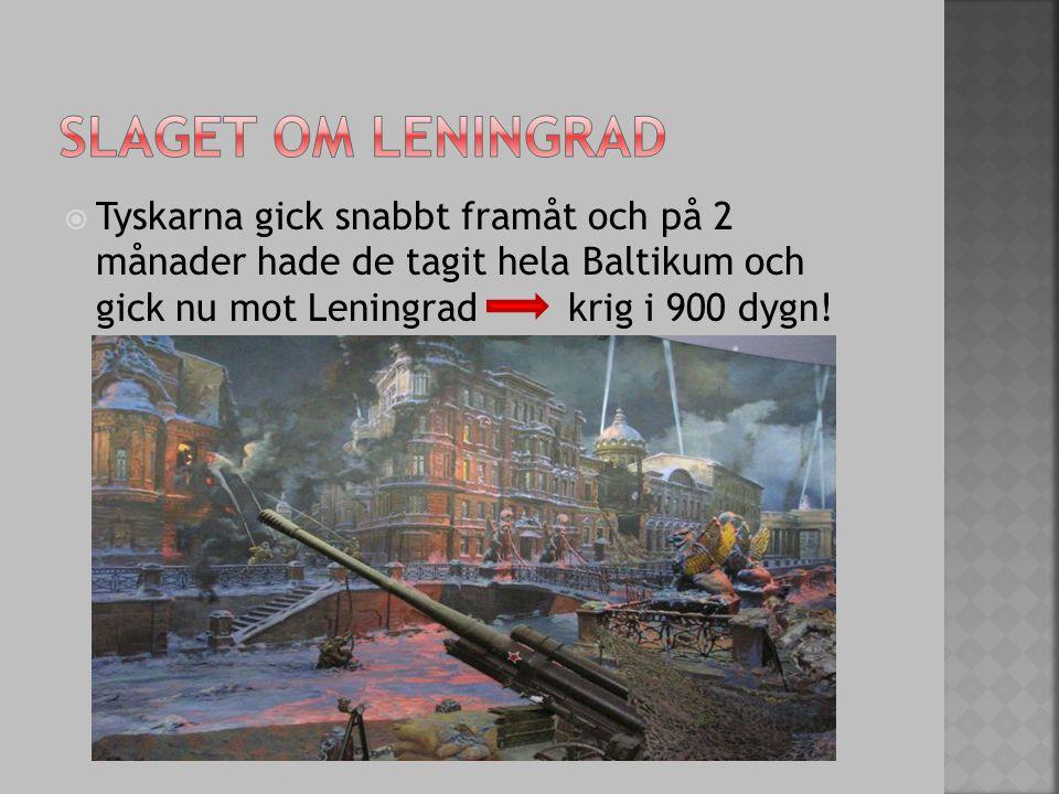 Slaget om leningrad Tyskarna gick snabbt framåt och på 2 månader hade de tagit hela Baltikum och gick nu mot Leningrad krig i 900 dygn!