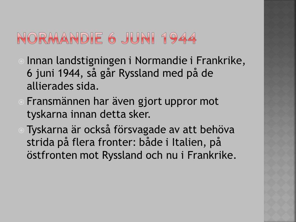 Normandie 6 juni 1944 Innan landstigningen i Normandie i Frankrike, 6 juni 1944, så går Ryssland med på de allierades sida.