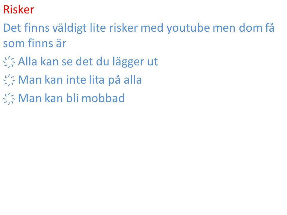 Risker Det finns väldigt lite risker med youtube men dom få som finns är. ҉ Alla kan se det du lägger ut.