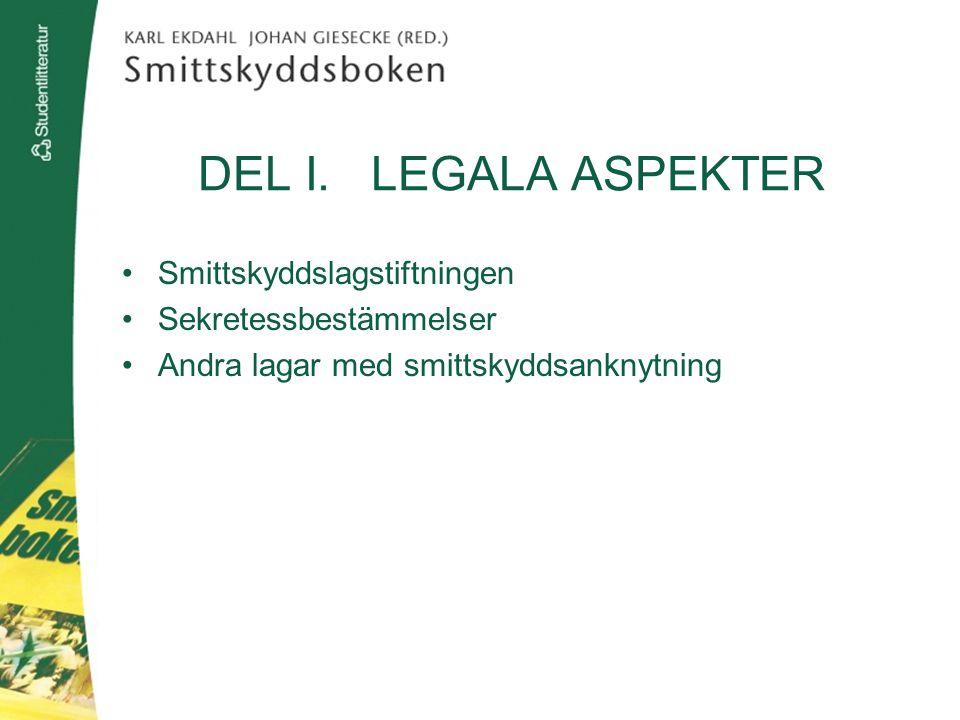 DEL I. LEGALA ASPEKTER Smittskyddslagstiftningen Sekretessbestämmelser