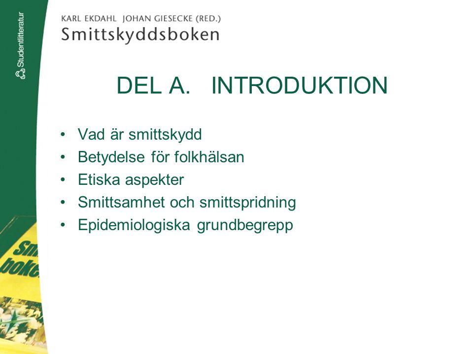DEL A. INTRODUKTION Vad är smittskydd Betydelse för folkhälsan