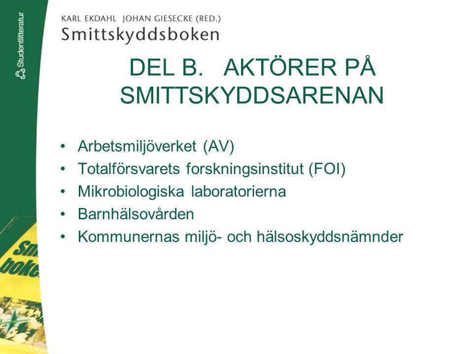 DEL B. AKTÖRER PÅ SMITTSKYDDSARENAN