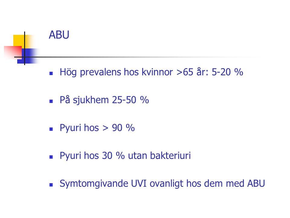 ABU Hög prevalens hos kvinnor >65 år: 5-20 % På sjukhem 25-50 %