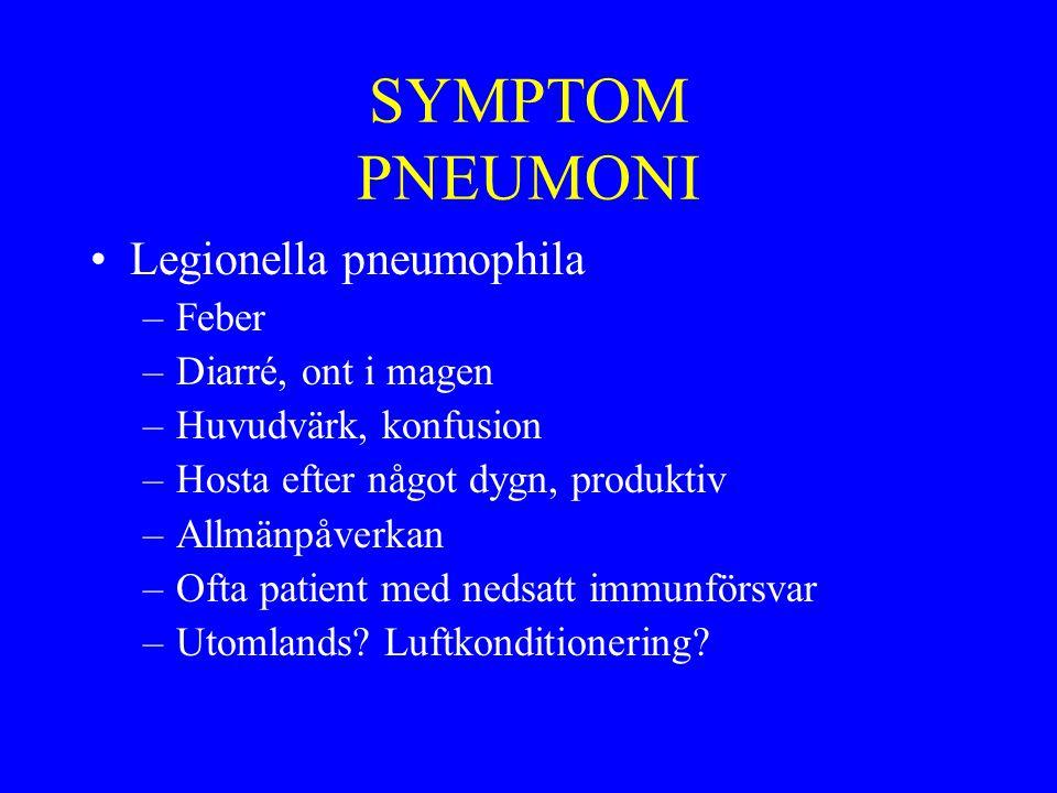 SYMPTOM PNEUMONI Legionella pneumophila Feber Diarré, ont i magen
