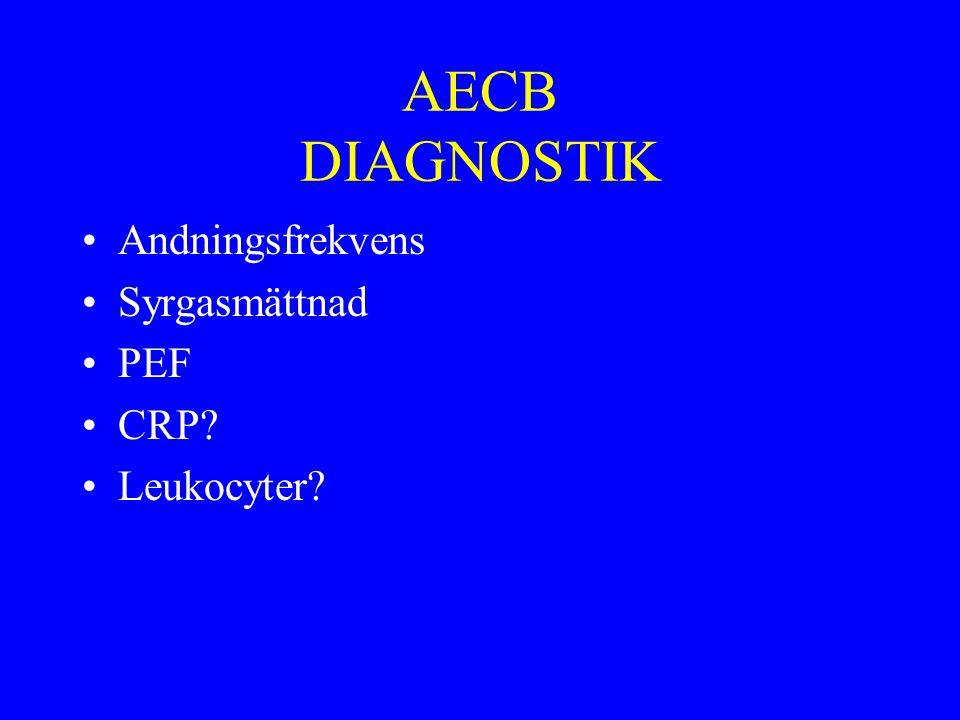 AECB DIAGNOSTIK Andningsfrekvens Syrgasmättnad PEF CRP Leukocyter