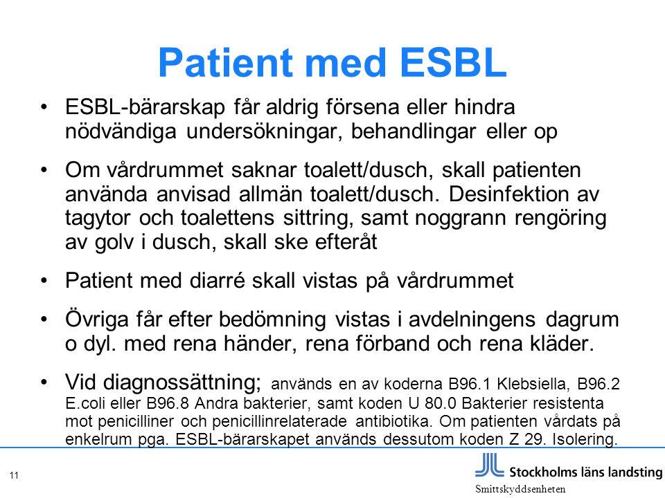 Patient med ESBL ESBL-bärarskap får aldrig försena eller hindra nödvändiga undersökningar, behandlingar eller op.