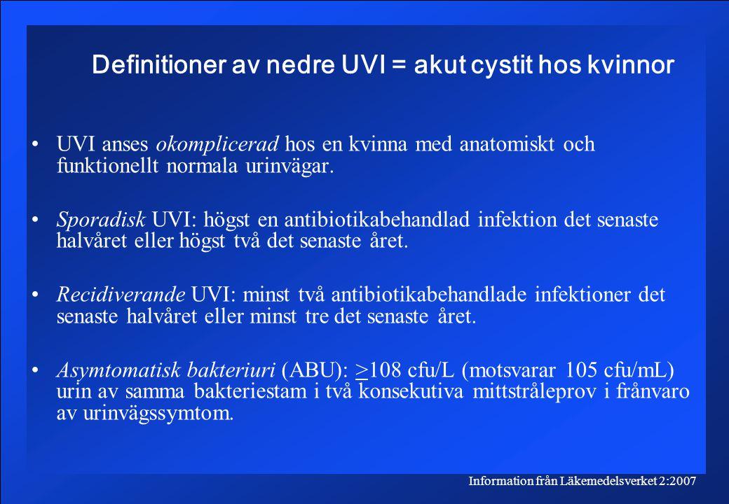 Definitioner av nedre UVI = akut cystit hos kvinnor
