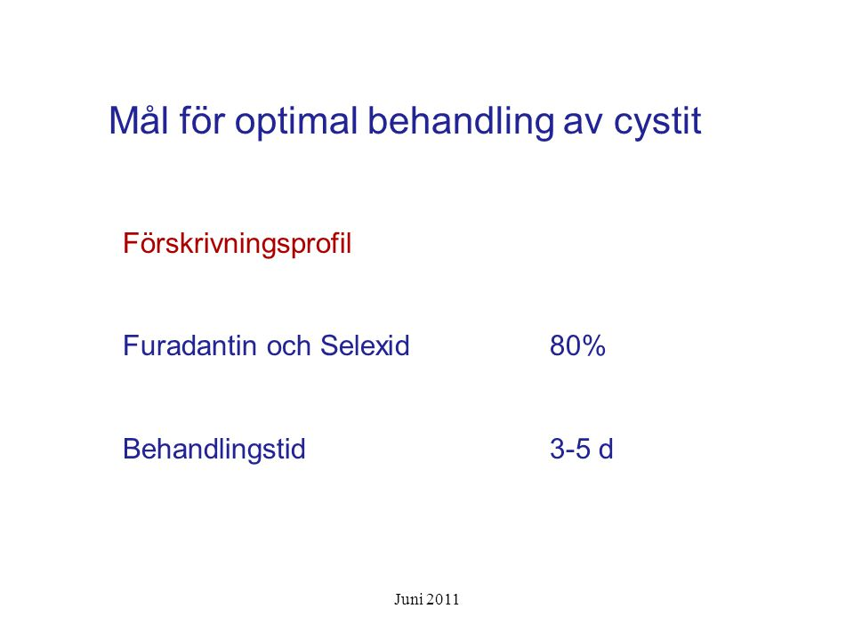 Mål för optimal behandling av cystit
