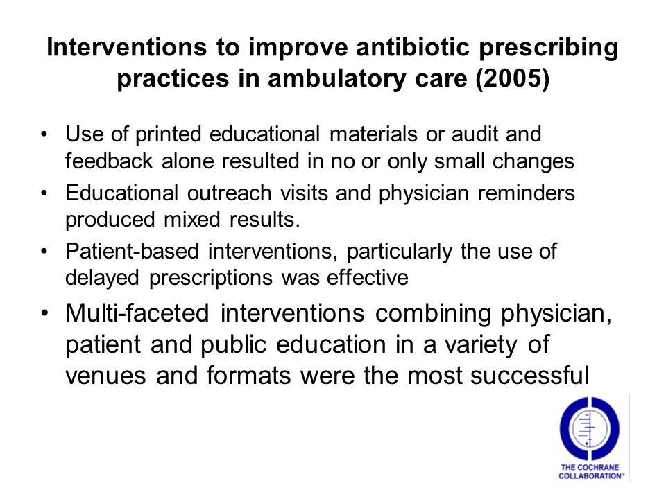 Interventions to improve antibiotic prescribing practices in ambulatory care (2005)