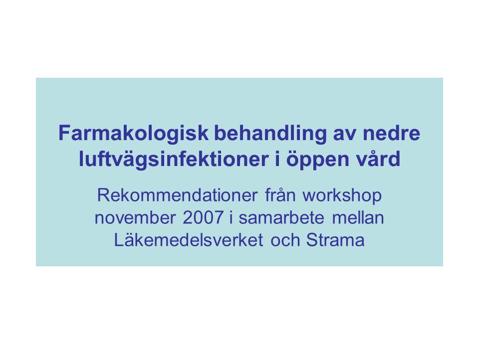 Farmakologisk behandling av nedre luftvägsinfektioner i öppen vård