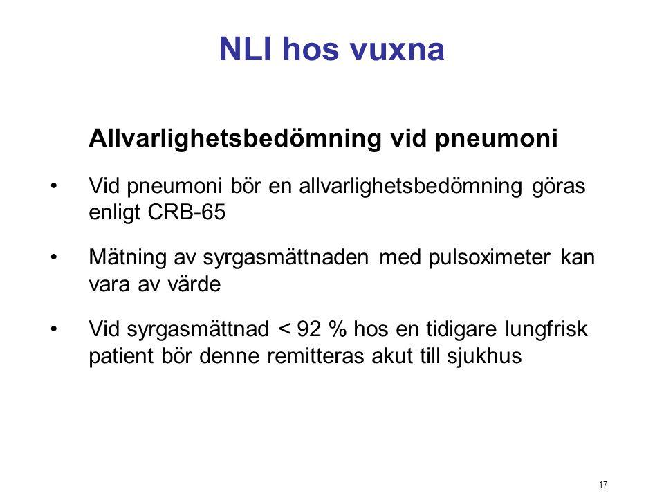 NLI hos vuxna Allvarlighetsbedömning vid pneumoni