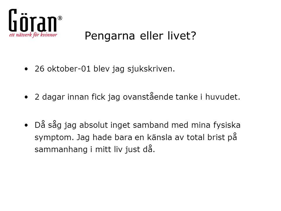 Pengarna eller livet 26 oktober-01 blev jag sjukskriven.