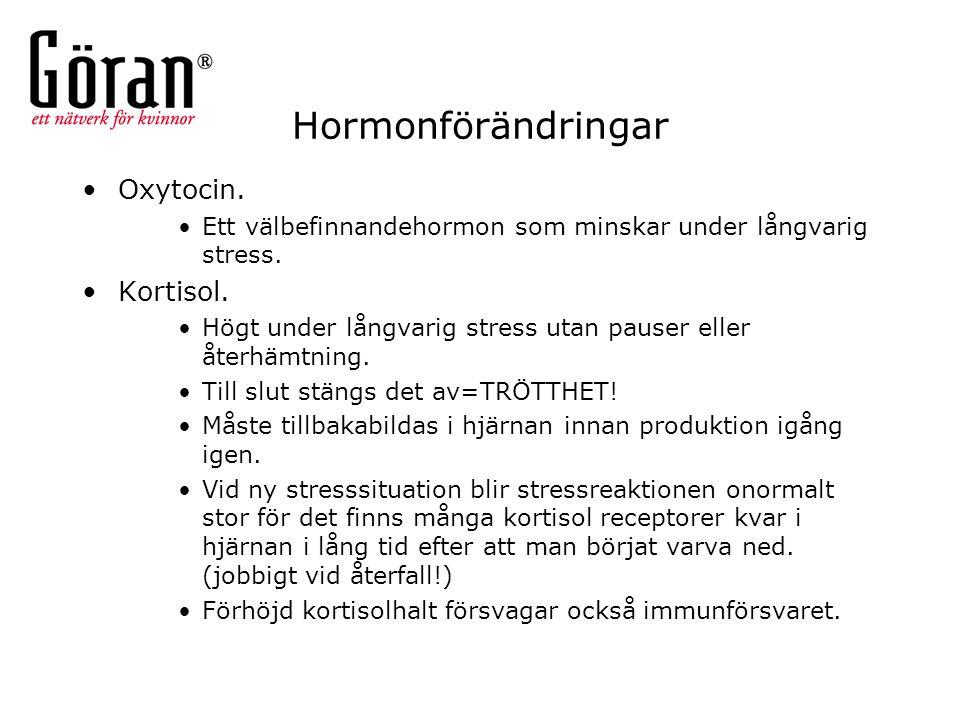 Hormonförändringar Oxytocin. Kortisol.