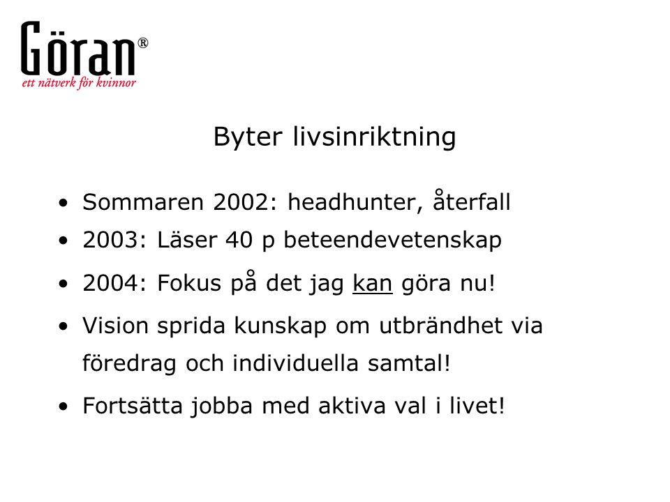 Byter livsinriktning Sommaren 2002: headhunter, återfall