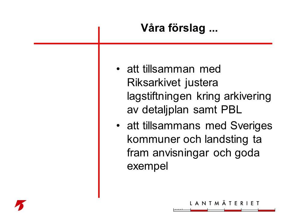 Våra förslag ... att tillsamman med Riksarkivet justera lagstiftningen kring arkivering av detaljplan samt PBL.